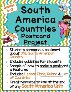 South America Countries Postcard Project