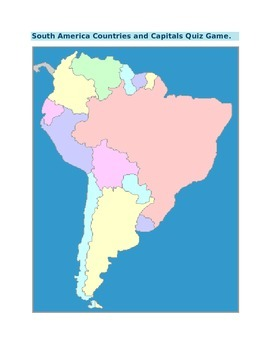 South America Countries and Capitals Quiz Game for 4th Grade