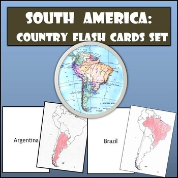 South America: Country Flash Cards Set - Shaded or Non-Shaded with Name on Back
