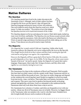 South America: Culture: Native Cultures