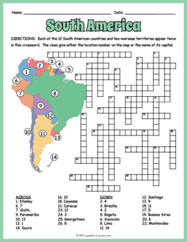South America Geography Crossword Puzzle by Puzzles to Print TpT
