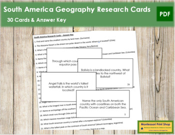 South America Geography Research Cards