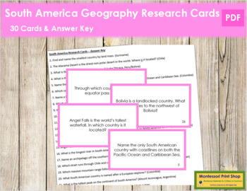 South America Geography Research Cards (color borders)