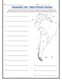 South America Geography Test w/ ANSWER KEY - (Editable)