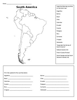 south america map activity South America Labeling Map By Sincerelysally Teachers Pay Teachers