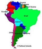 South America Labeling Puzzle. Map