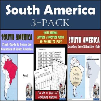 South America: Latitude & Longitude, Flash Cards, & Country Identification Quiz