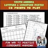 South America - Latitude and Longitude Coordinates Puzzle - 50 Coordinates