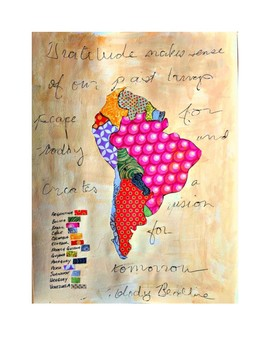"""South America Map 8.5"""" x 11"""" with Key Countries Continent Map"""