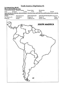 south america map activity South America Map Activity By Ms Hernandez World Cultures And Elar