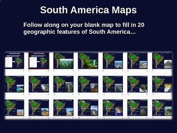 South America Map Activity - engaging, follow-along 22-slide PPT (w video links)