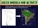 South America Map Activity - engaging, follow-along 22-sli