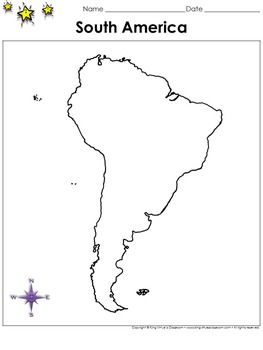 South America Map - Blank - Full Page - Continent - Portra