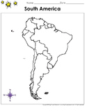 South America Map - Countries - Blank - Full Page - Continent - Portrait