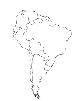 South America Map Cut & Paste by Elementary FUN in Spanish and English