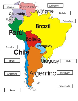 South America Map Cut & Paste