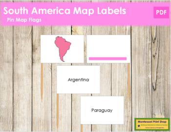 South America Map Labels - Pin Map Flags (color-coded)