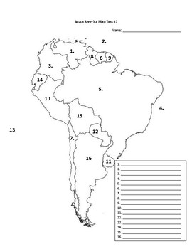 South America Map Test Pack