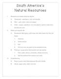 South America Natural Resource Outline Notes