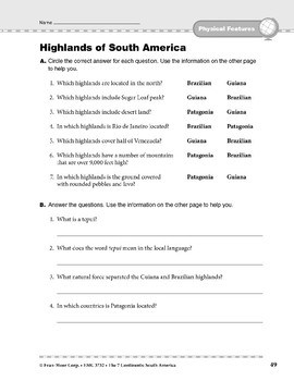 South America: Physical Features: Highlands