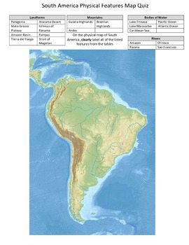 South America Physical Features Map Quiz