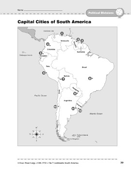 South America: Political Divisions: Capital Cities
