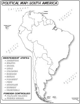 Map Of America Unlabeled.South America Political Map Unlabeled With Word Bank Coloring Book Series