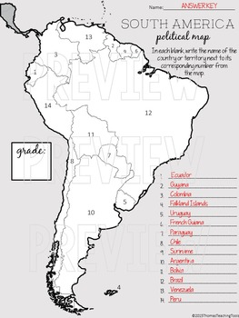 South America Political Map Unit
