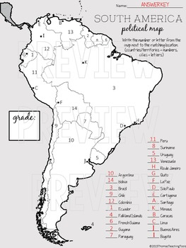 South America Political Map Unit By Thomas Teaching Tools Tpt