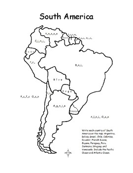 South America - Fill in the Blanks on the Map