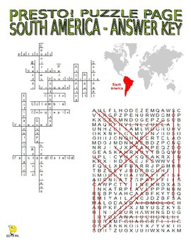 South America Puzzle Page (Wordsearch and Criss-Cross)
