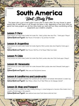 South America Unit Study Lesson Plan