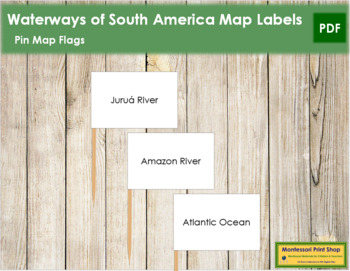 South American Waterways Map Labels - Pin Map Flags