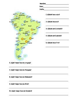 Spanish South America Weather Map Worksheet (Tiempo en América del Sur)