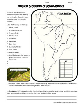 South America Where in the World Scavanger Hunt & Map Physical Geography