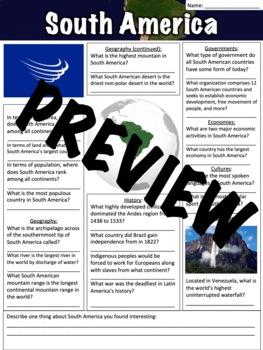 South America Worksheet