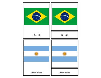 Flags of South America Three Part Cards