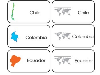 South America printable Picture Word Flash Cards. Preschool geography flashcards