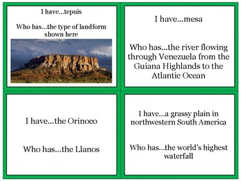 South America's Physical Geography Review Game: I Have Who Has