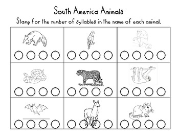 South American Animal Syllable Stamp