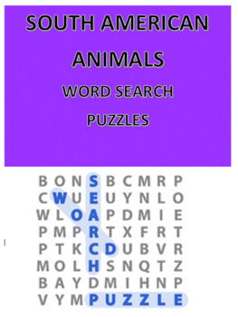 South American Animals Word Search Puzzles