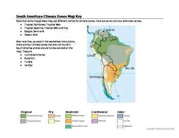 south american climate zones map worksheet by marcy edwards tpt. Black Bedroom Furniture Sets. Home Design Ideas
