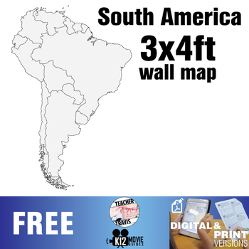 South American Continent Wall Map (3x4ft)