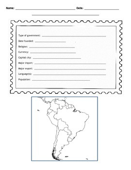 South American Countries Postcard Template