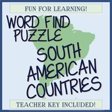 South American Countries Word Find / Word Search - Check O