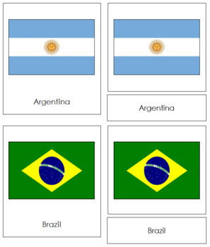 South American Flags: 3-Part Cards