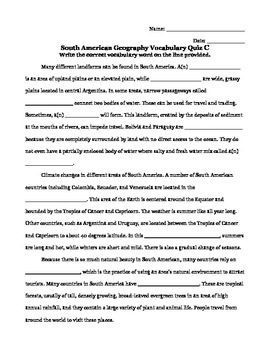 South American Geography Vocabulary Quiz
