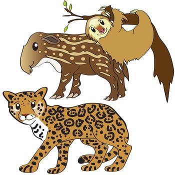 South American Animals Clip Art  - Amazon Wildlife