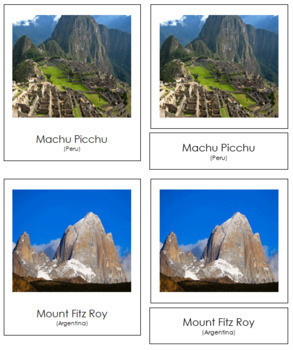 South American Landmarks: 3-Part Cards
