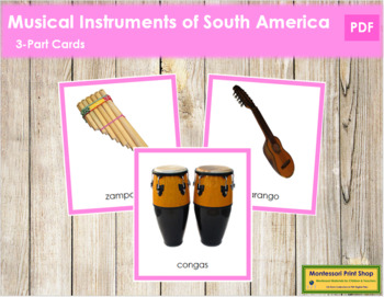 South American Musical Instruments: 3-Part Cards (color borders)